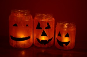 Recycled Jar Jack-o-Lantern Luminaries