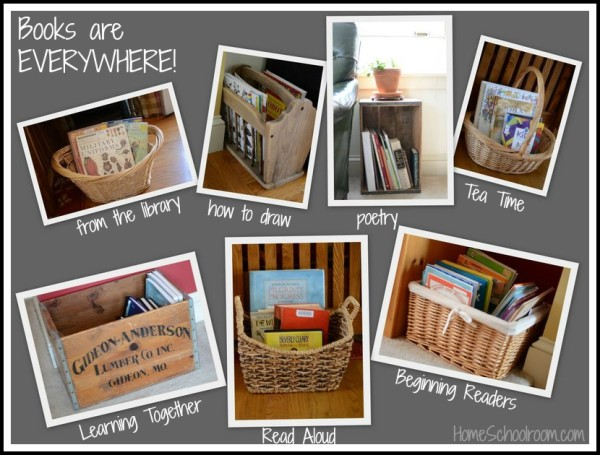store books in baskets