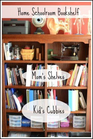 home schoolroom bookshelf
